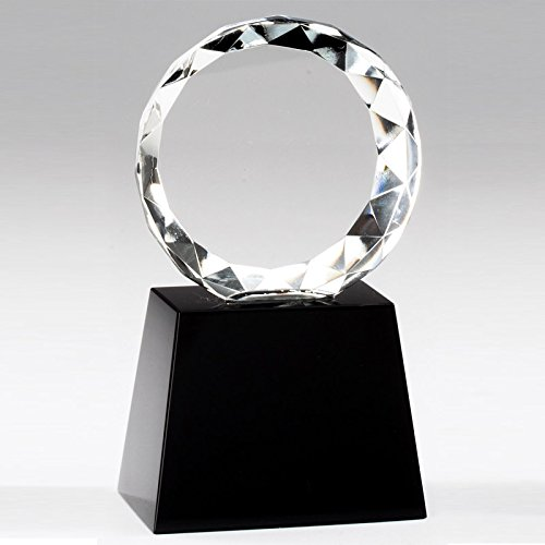 - Customizable 5-1/4 Inch Round Beveled Cut Optical Crystal on Black Base with Personalization