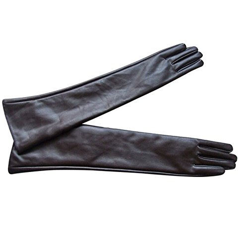 Wiipu Women's fashion Faux Long Leather Gloves (brown)