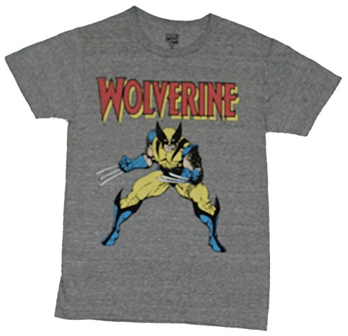 [Wolverine (Marvel Comics) Mens T-Shirt - Battle Ready Yellow Costume Image (X-Small) Heather Gray] (Wolverine Costume Tee)