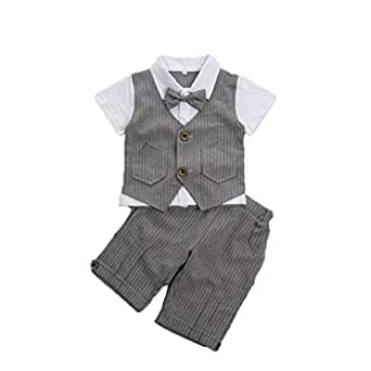 Feidoog Baby Summer Baby Boys Gentleman Formal Short Sleeve Outfits Suits Bow Ties Shirts Vest Pants Toddler Clothes Sets - Grey - 6-12 Months