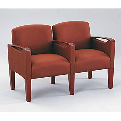 Two Seater With Center Arm Dimensions 49 W X 26 D X 32 5 H Auburn Fabric Cherry Finish