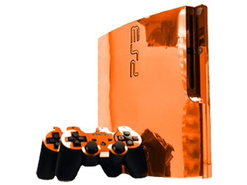 Sony PlayStation 3 Slim Skin (PS3 Slim) – NEW – ORANGE CHROME MIRROR system skins faceplate decal mod Review