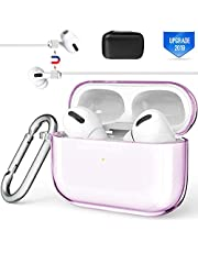 Valkit Compatible Airpods Pro Case Cover, TPU Translucent Airpod Pro Protective Case 2019 with Keychain Shockproof Cover Case for Apple Airpod Pro Charging Case 3rd Gen[Front Led Visible]-Clear Purple