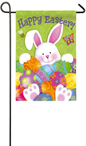 Evergreen Bunny with Eggs Suede Garden Flag, 12.5 x 18 inches