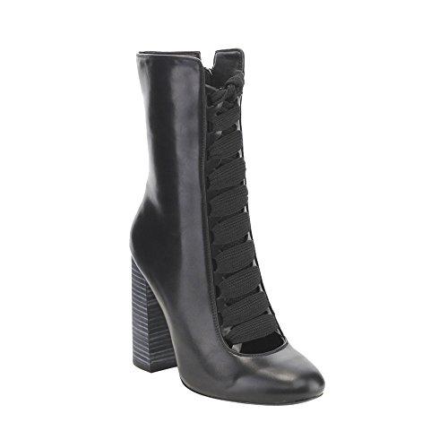 Jacobies Ge39 Dames Lace Up Hoge Dikke Hak Zip-up Jurk Mid-calf Laarzen Zwart