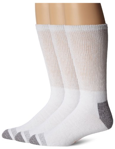 Dockers Men's 3-Pack Non-Binding Cushion Comfort Crew Sock, White, Shoe Size: 6-12 Size: 10-13