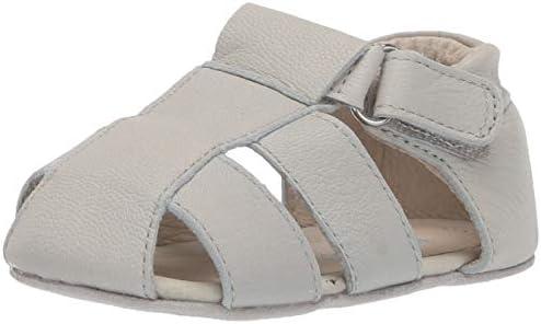 Robeez Boys Sandal First Kicks Crib Shoe Matthew Light Grey 12 18 Months Amazon Ae