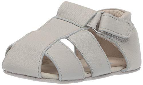 (Robeez Boys' Sandal-First Kicks Crib Shoe, Matthew Light Grey, 18-24 Months)