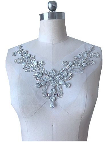 Hand Made sew on Silver Sequins Rhinestones Applique on mesh l Patches Trim 50x30/30x20cm for Dress Back/and Front one Set/lot