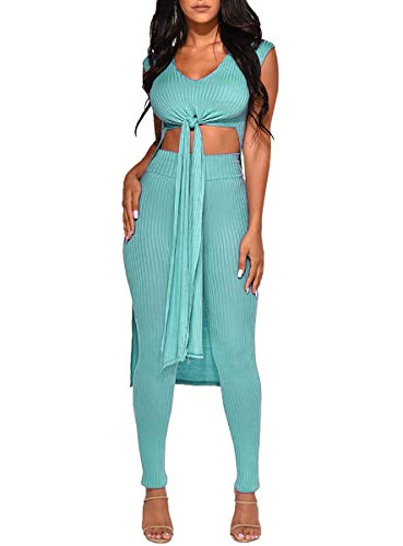 Salimdy Womens Two Piece Outfits - Sleeveless Bandage Tunics Romper Dresses + Bodycon Pants Summer Jumpsuits Cyan M]()