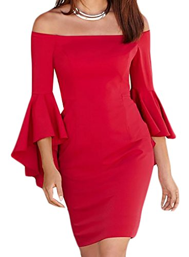 ARRIVE GUIDE Womens Floral Print Long Sleeve Round Neck Mermaid Maxi Dress Red