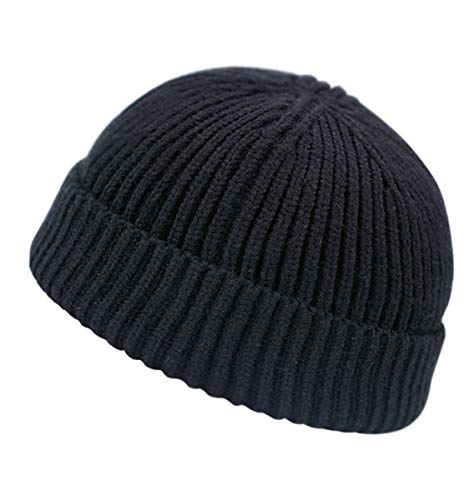 Clecibor Unisex Rollup Edge Knit Skullcap Soft Stretchy Autumn Winter Knit Short Beanie for Men Women, Black