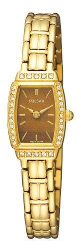 (Pulsar Women's PEGE60 Crystal Tiger Eye Dial Watch)