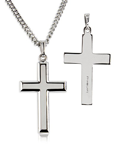 Heartland-Classic-Beveled-High-Polish-Cross-Sterling-Silver-Pendant-for-Men-USA-Made-Chain-Choice