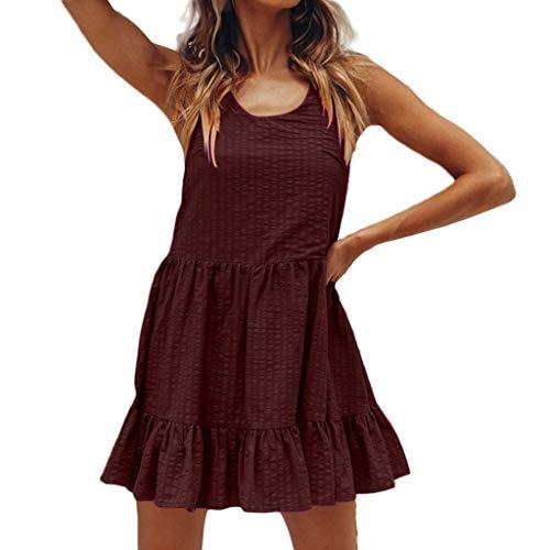 TEVEQ Women's Tank Dress Summer Fine Flash Vest Pleated Skirt Dress Casual Holiday Dress Wine