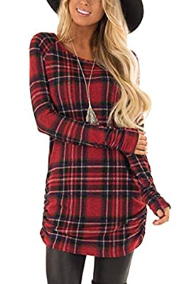 For G and PL Women Plaid Ruched Long Shirt