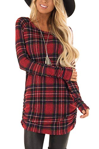 For G and PL Christmas Women Long Sleeve Casual Slim Fit Ruched Side Tunic Tops Red Plaid XS