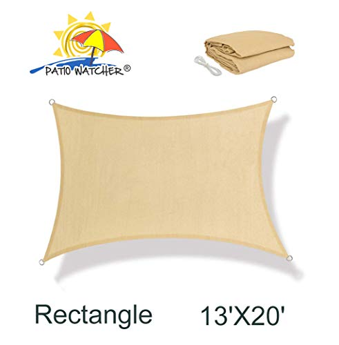 Patio Watcher 13 x 20 Rectangle Sun Sail Shade UV Block Shade Sail Perfect for Outdoor Patio Garden Sand