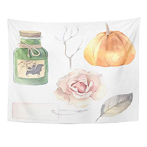 YGUII Tapestry Polyester Fabric Print Home Decor Halloween Watercolor Poison Bottle Pumpkin Rose Label Leaf Branch Wall Hanging Tapestry for Living Room Bedroom Dorm 150150cm(60