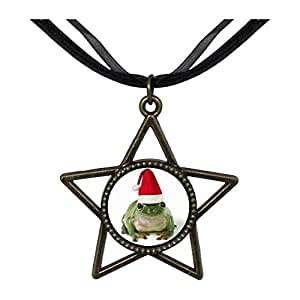 Chicforest Bronze Retro Style Santa Frog Five Pointed Star Pendant