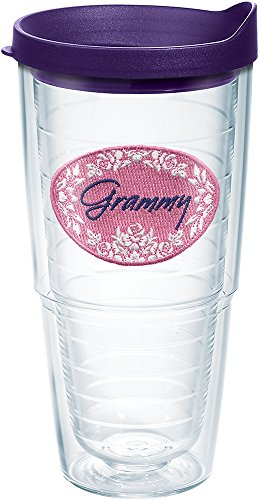 Tervis 1139027 Grammy Tumbler with Emblem and Royal Purple Lid 24oz, Clear (Grammy Gift)
