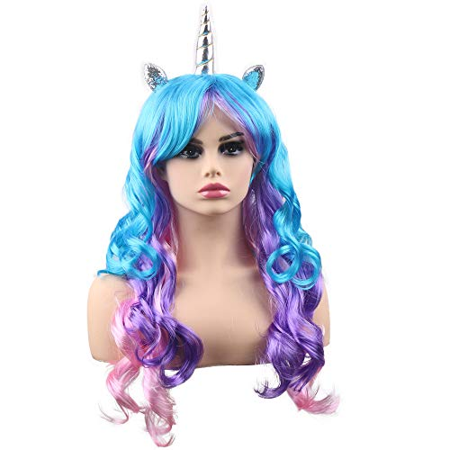 (kaste Women Princess Rainbow Unicorn Wig Long Curly Hair Wigs Halloween Party Cosplay)