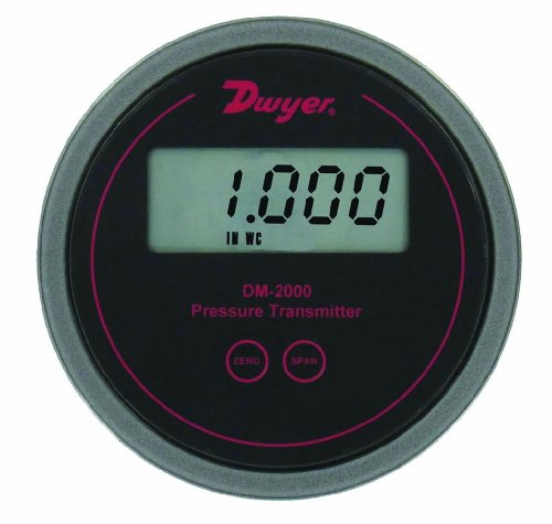 Dwyer Series DM-2000 Differential Pressure Transmitter with LCD, Black Background, 0-0.1