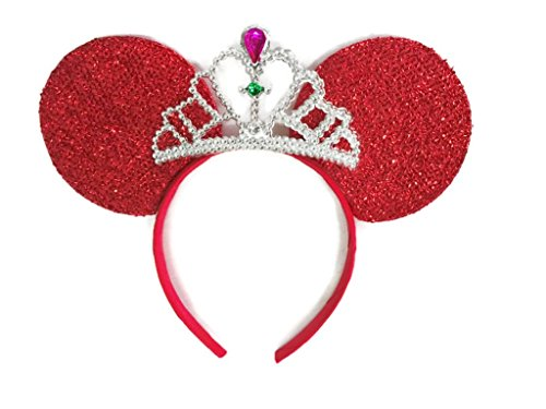 MeeTHan Mickey Mouse Ears Headband Minnie Mouse ears Tiara headbands : M6 (Red) -