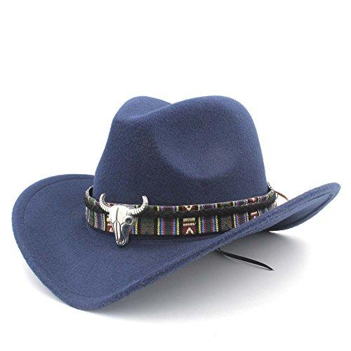 GHC Caps & Hats para Las Mujeres de Moda los Hombres del Sombrero de Vaquero Occidental Lady Jazz Cowgirl Sombreros del Sombrero Dark Blue