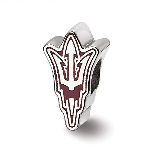 925 Sterling Silver Rhodium-plated Laser-cut Arizona State University Enameled Logo Bead Charm