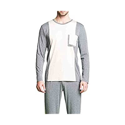 Nice Orcan Bluce Pajamas For Men Patchwork Pajama Set Long-sleeve Lounge Wear Casual Homewear for cheap