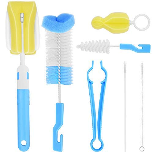 Baby Bottle Brush Cleaning Set, 7 in 1 Cleaning Brush Set, All Kinds of Baby Bottles & Accessories, Ergonomic Non-Slip Grip   Bpa Free   Great Bottle Brush Cleaner (Blue Baby Bottle Cleaning Brush)