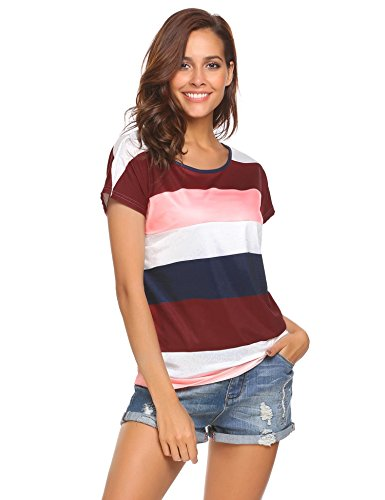 Colour Block (Easther Women's Rainbow Short Sleeve Color Block Striped Sexy T-Shirt Tops,Multicolored 1,Large)