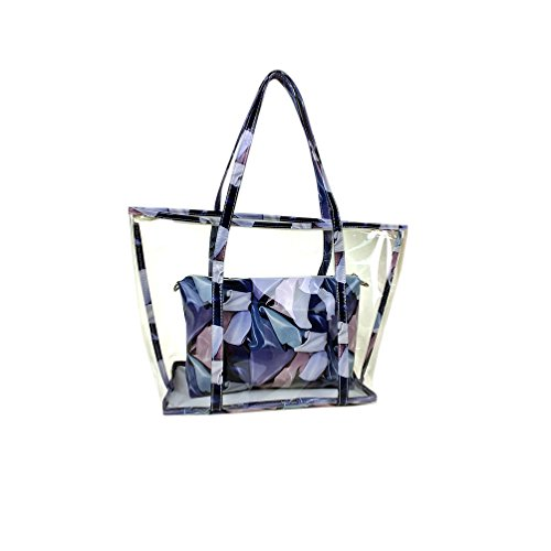 Jelly Scarves Transparent Pu Handbag Beach Bag Tote clear Shoulde Set Swimming Semi Holidays Blue Sweet Tote Outdoor Leather 4SwRx5nq