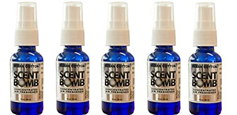 Scent Bomb Super Strong 100% Concentrated Air Freshener - 5 PACK (Clean Cotton) (Scent Bomb Car Spray)