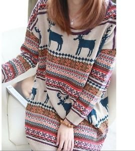 Woman Vintage Oversized Christmas Reindeer Snowflake Jumper Dress ...