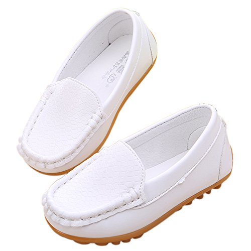 Pictures of LONSOEN Toddler/Little Kid Boys Girls Soft Split Leather Loafer Slip-On Boat-Dress Shoes/Sneakers,White,11 M US Little Kid 4