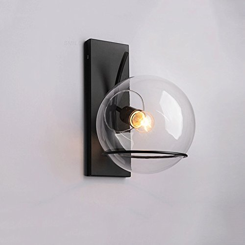 Baycher Modern Ball Glass Shade 1-Light Indoor Wall Lamp Light with Black Backplate Creative Corridor Aisle Hotel Engineering Iron Wall Light Barn Warehouse Wall - Brass Backplate Short