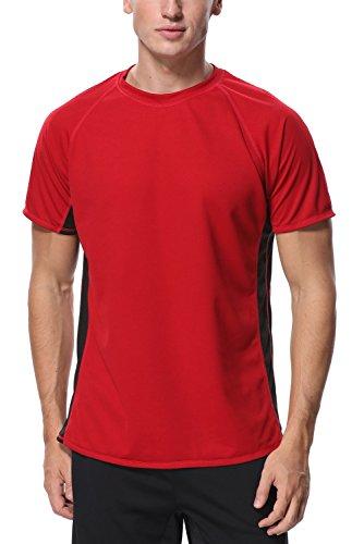 (Vegatos Men Rash Guard Short Sleeve Surfing Tops Swim Shirts Workout Shirt Splice)
