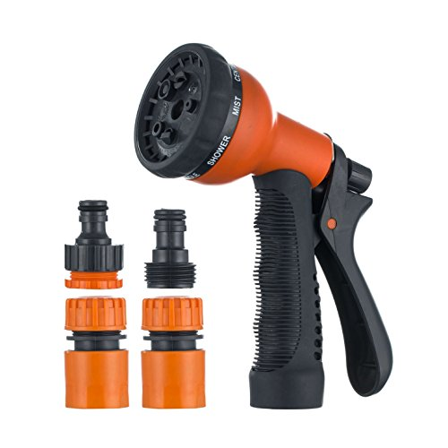 Zobbe Garden Heavy Duty Sprayer Nozzle 8 Adjustable Watering Patterns, Slip and Shock Resistant for Watering Plants, Cleaning, Car Wash Showering Pets High Pressure Garden Hose Nozzle Sprayer for sink by Zobbe