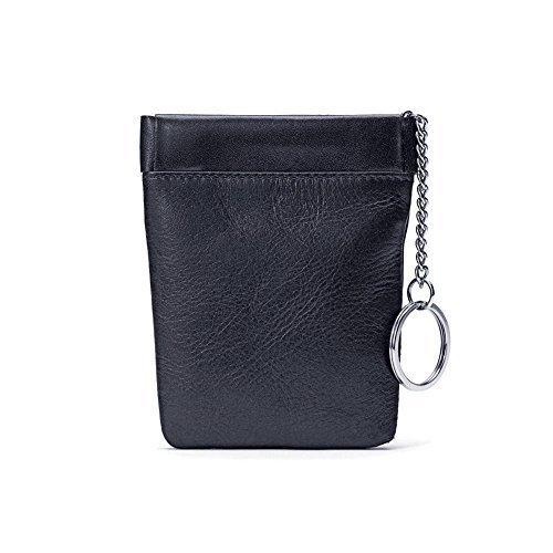 Winn Napa Leather Bell Drop Facile Frame Coin Purse - Black by Winn