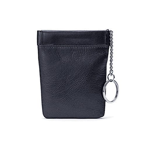 (Winn Napa Leather Bell Drop Facile Frame Coin Purse - Black)