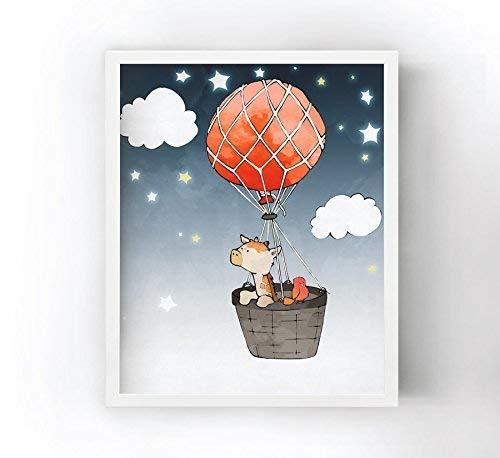 - Giraffe Nursery Art Print - Red Balloon and Basket Flying Through the Night Sky, Safari Animal Illustration, Whimsical Kids Art, Giraffe Wall Art for Children