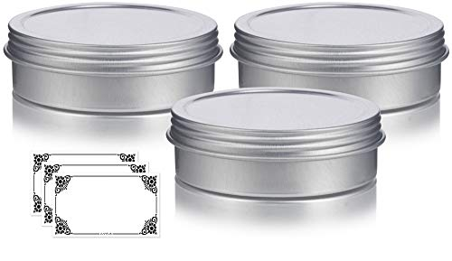 f7c573cae635 4 oz Metal Steel Tin Flat Container with Tight Sealed Twist Screwtop Cover  (3 pack) + Labels