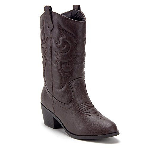 J'aime Aldo Women's TEX-25 Tall Stitched Western Cowboy Cowgirl Boots Brown