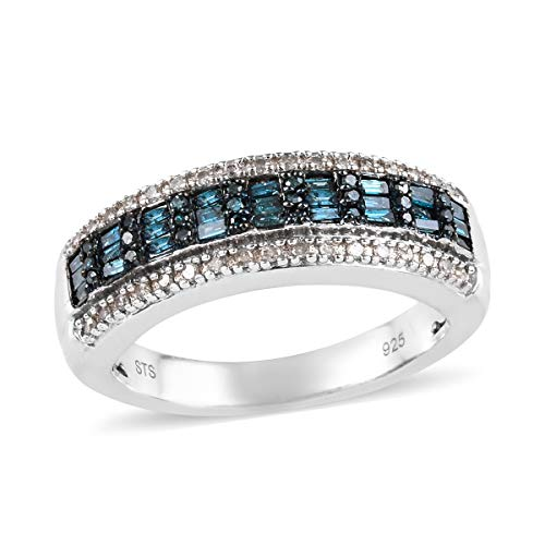 Blue Diamond Cluster Ring 925 Sterling Silver Platinum Plated Jewelry for Women Size 6 Ct - Diamond Ring Cluster Platinum