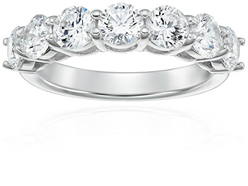 Platinum-Plated Sterling Silver 7-Stone Ring made with Swarovski Zirconia (3 cttw), Size 9