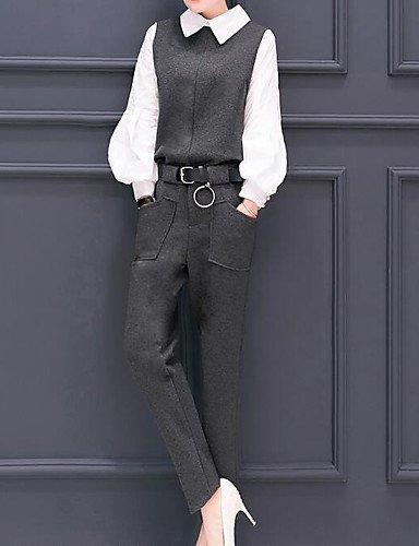 Pantalones Xuanku Elasticidad Mujer Chic Camisa Un Toque Trabajo Larga Nailon Muelles Con Maciza Cuello Manga Para De Gris Y Algodón rrCqwp