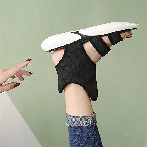 de YMFIE Sandalias Verano black Inferior Dama Antideslizante Plano Fondo Toe Toe de Suave Comodidad Playa Calzado AgqwnABp