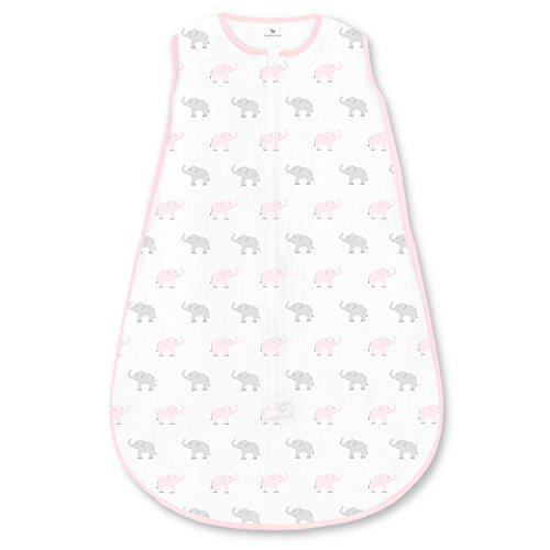 Amazing Baby Cotton Sleeping Sack with 2-Way Zipper, Tiny Elephants, Pastel Pink, Medium